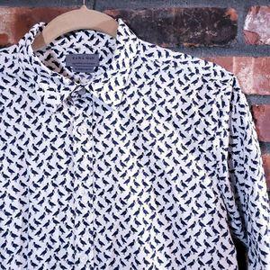 Zara Man Super Slim Bird Print Button-front Shirt